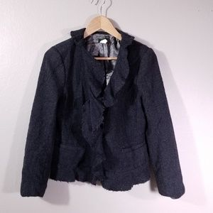 J Crew 100% Wool Frayed Ruffle Blazer Jacket Gray
